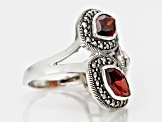 Red Garnet And Marcasite Sterling Silver Ring. 5.46ctw