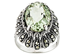 Green Prasiolite And Marcasite Sterling Silver Ring. 6.33ct