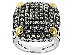 Metallic Marcasite Sterling Silver Ring.