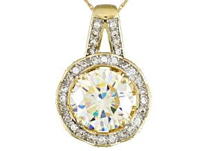 White Fabulite Strontium Titanate And White Zircon 10k Yellow Gold Pendant 4.00ctw