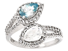 Blue Zircon 10k White Gold Ring 2.50ctw