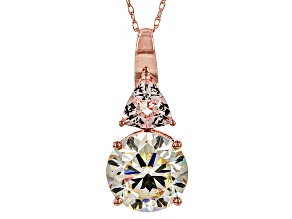 White Lab Created Strontium Titanate 10k Rose Gold Pendant With Chain 4.59ctw