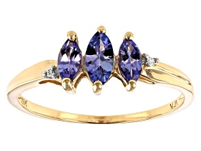Blue Tanzanite 10k Yellow Gold Ring .46ctw