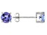 Blue Tanzanite Solitaire Rhodium Over 14k White Gold Earrings .90ctw