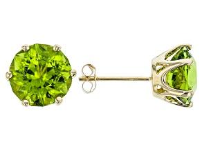 Green Peridot 10k Yellow Gold Earrings 5.20ctw