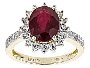 Mahaleo Ruby 10k Yellow Gold Ring 4.31ctw