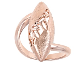Brushed Copper Open Design Crossover Ring