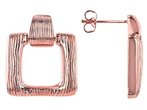 Copper Textured Square Earrings