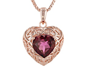 "Unchanging™ Quartz Copper Heart Pendant With 18"" Chain 2.94ct"