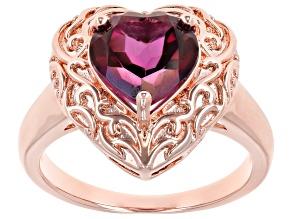 Unchanging™ Quartz Copper Heart Ring 2.92ct