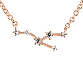 White Topaz Copper Taurus Necklace 0.11ctw
