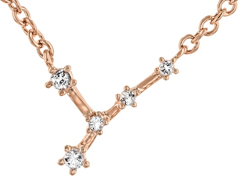 White Topaz Copper Cancer Necklace 0.11ctw