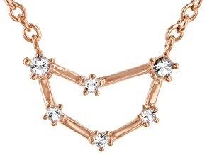 White Topaz Copper Capricorn Necklace 0.12ctw
