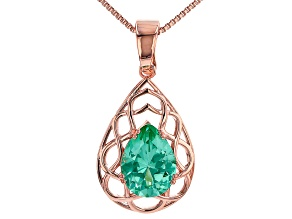 "Green Lab Created Spinel Copper Enhancer With 18"" Chain 9.01ct"