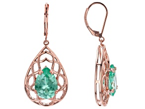 Green Lab Created Spinel Copper Open Design Earrings 11.13ctw