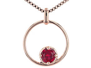"Red Lab Created Ruby Copper Birthstone Pendant With 18"" Chain"
