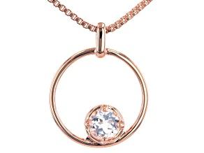 """White Topaz Copper Birthstone Pendant With 18"""" Chain 0.86ct"""