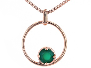 "Green Onyx Copper Birthstone Pendant With 18"" Chain 0.60ct"