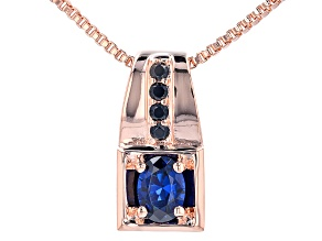 "Black Spinel & Blue Lab Created Spinel Copper Men's Pendant With 18"" Chain 0.82ctw"