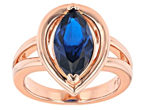 Blue Lab Created Spinel Copper Ring 3.06ct