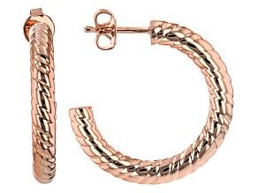 Copper Rope Textured Hoop Earrings