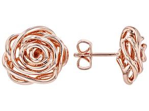 Copper Rose Shape Stud Earrings
