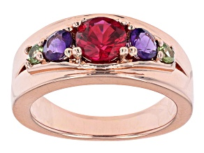 Lab Created Ruby With Amethyst And Peridot Copper Ring 1.40ctw