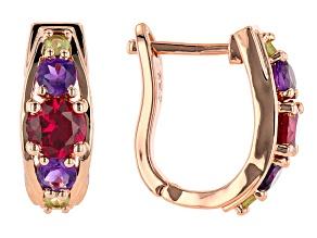 Red Lab Created Ruby, Amethyst &  Peridot Copper Earrings 2.81ctw