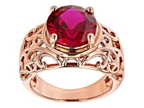 Lab Created Ruby Copper Filigree Ring 3.48ct