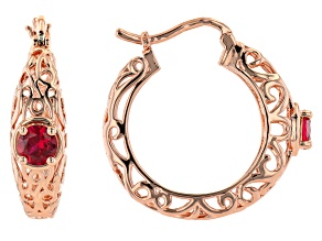 Red Lab Created Ruby Copper Filigree Earrings 3.31ct