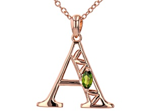 """Chrome Diopside Copper """"A"""" Initial Pendant With 18"""" Chain 0.21ctw"""