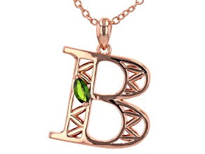 """Chrome Diopside Copper """"B"""" Initial Pendant With 18"""" Chain 0.21ct"""