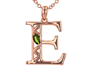 """Chrome Diopside Copper """"E"""" Initial Pendant With 18"""" Chain 0.21ct"""