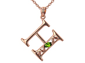 """Chrome Diopside Copper """"H"""" Initial Pendant With 18"""" Chain 0.21ct"""