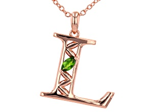 """Chrome Diopside Copper """"L"""" Initial Pendant With 18"""" Chain 0.21ct"""