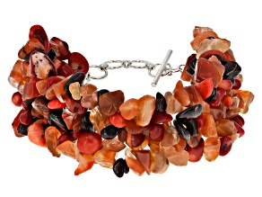 Red carnelian silver bracelet