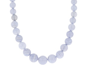 Blue lace agate bead strand silver necklace
