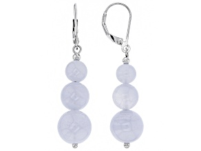 Blue lace agate bead silver earrings