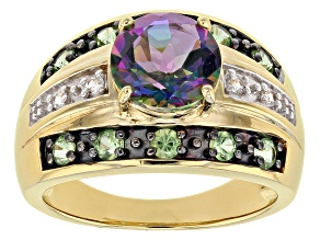 Green Mystic Fire® Topaz 18k Gold Over Silver Ring 2.78ctw