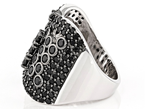 Black spinel rhodium over silver ring 2.34ctw