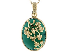 Green onyx 18k gold over silver enhancer with chain