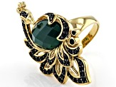 Green onyx  18k gold over sterling silver peacock ring 0.73ctw