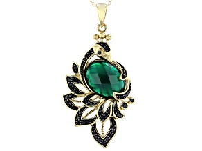 Green onyx 18k gold over sterling silver peacock pendant with chain 0.47ctw