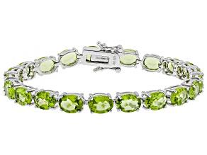 Green Manchurian Peridot(TM) Rhodium Over Sterling Silver bracelet 20.53ctw