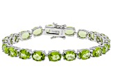 Green peridot rhodium over silver bracelet 20.53ctw