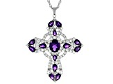 Purple amethyst rhodium over silver cross pendant with chain 9.10ctw