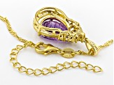 Purple amethyst 18k gold over silver pendant with chain 3.56ctw
