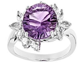Purple amethyst rhodium over silver ring 3.92ctw