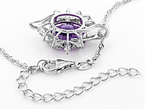 Purple amethyst rhodium over silver pendant with chain 3.95ctw