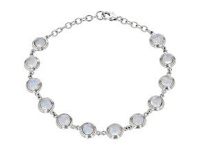 White Rainbow Moonstone Rhodium Over Sterling Silver Bracelet